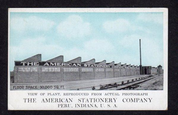 IN American Stationary Co Factory Plant Peru Indiana Postcard PC Vintage