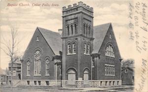 Cedar Falls Iowa~Baptist Chruch Building~Bare Tree in Front~House Next Door~1907