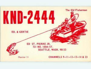 fishing - QSL CB HAM RADIO CARD Seattle Washington WA s0267