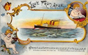 Love From Afar~Steamer Crosses Ocean~Cupids Art Nouveau~Old Folks At Home~1907