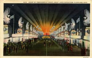 OH - Cleveland. Great Lakes Exposition. Court of Presidents at Night