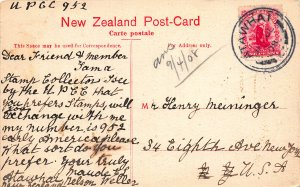 Maungatapu from Second Bridge, Maitai Valley, New Zealand, 1908 Postcard, Used