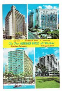 HI Four Outrigger Hotels Waikiki Vtg Hawaii Postcard