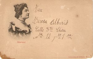 A beautiful lady. Mariani Old vintage antique Spanish postcard