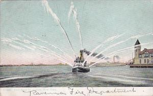 Fire Boat In Action New York 1909