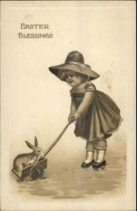 Easter - Little Girl w/ Rabbit in Wagon c1910 PC -  Gottschalk Dreyfuss Davis