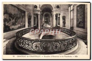 Old Postcard Chateau de Chantilly Honorary Staircase and the Vestibule