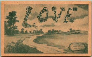 Vintage LANGUAGE OF FLOWERS / Greetings Postcard Rose: LOVE 1909 SD Cancel