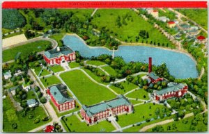 New Concord, Ohio Postcard MUSKINGUM COLLEGE Aerial Campus View Kropp Linen