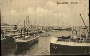 Montevideo Harbor & Ships c1910 Postcard