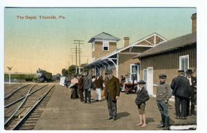 Titusville FL Railroad Station Train Depot Postcard