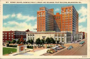 Vtg Rodney Square Public Library Delaware Trust Building Wilmington DE Postcard