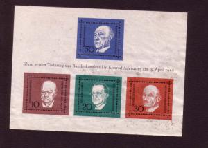 Four Value Souvenir Sheet of Stamps, Germany 1968, Mint,