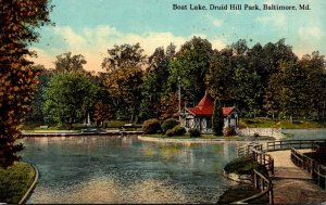 Maryland Baltimore Druid Hill Park Boat Lake 1913