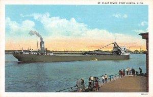 Port Huron Michigan view of boat ship St Clair River antique pc ZE686303