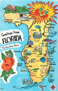 Greetings from Florida FL Map Sunshine State Chrome Postcard