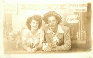 1930s Tijuana Mexico Photo Studio Bar Prop Whiskey Couple Drink RPPC  Postcard