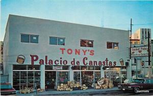 1960's NOGALES MEXICO Tony's Basket Palace Gift Shop autos postcard 4157