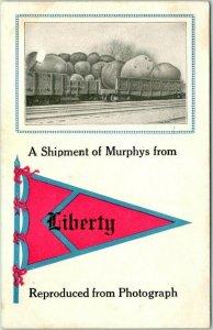 LIBERTY Nebraska Pennant Greetings Postcard Shipment of Murphys Potatoes 1913