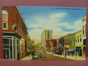Old Postcard SC Spantanburg North Church Street