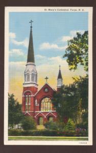 FARGO NORTH DAKOTA ST. MARY'S CATHEDRAL CHURCH VINTAGE POSTCARD N.D.