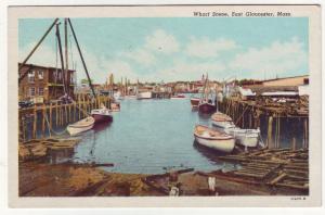 P495 JLs 1956 boats wharf scene east gloucester mass