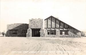 D34/ Spring Valley Wisconsin Wi Postcard RPPC c40s Crystal Cave Lodge Curio Shop