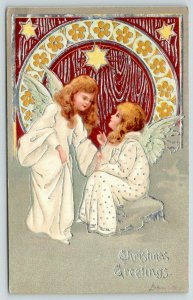Christmas~Blonde Angel Girls Seated in Clouds~Mauve Silver Arch~Yellow Stars~Emb