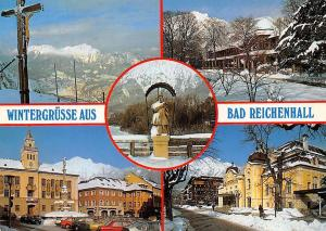 Wintergruesse aus Bad Reichenhall Cross Mountains Statue Auto Cars Street