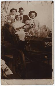 RPPC 1917-30 USA Family In Automobile Hairy Dog Early Car Real Photo Postcard