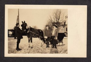 Real Photo Postcard Horse winter Sleigh RP RPPC Carte Postale