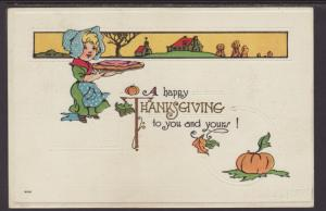 A Happy Thanksgiving,Woman Holding Pie Postcard