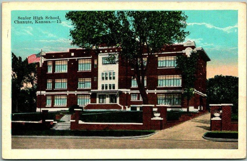 Chanute, Kansas Postcard Senior High School Building View KROPP c1930s Unused