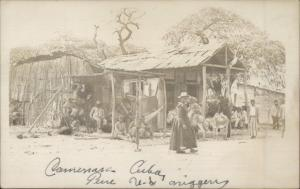 Caimanera Cuba Natives & Make-Shift Homes c1910 Real Photo Postcard dcn