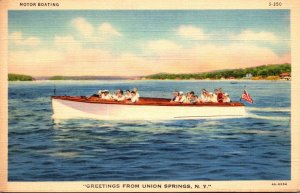 New York Greetings From Union Springs Motor Boating 1941 Curteich