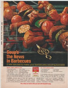 Campbell's Tomato Soup 1965 Print Ad, Soup's the News in Barbecues