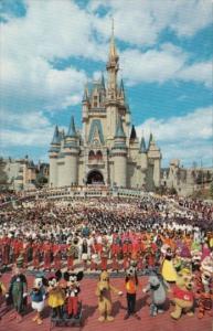 Florida Orlando Walt Disney World Cinderella Castle With Mickey Mouse and Cast