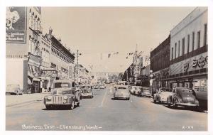 Ellensburg Washington~Kleinberg Building~Ross' Hub Clothiers~1930-40s Cars~RPPC