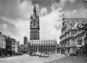Belgium Ghent St Bavon Place and Belfry Tower Vintage Cars Postcard