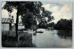Racine Wisconsin~Root River Rowboaters~Covered Excursion Boat~Cabins~1908 PC