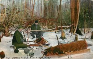 North Twin Dam Maine~Hot Coffee~Campsite Fire~Pack Sled~1910 Postcard