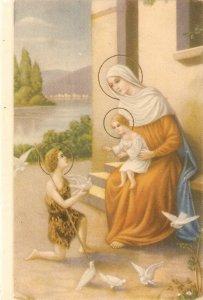 The Virgin, Jesus, St. John and doves· Lovely vintage Spanish religious postc