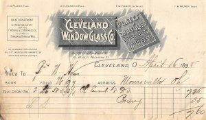 1898 Cleveland Window Glass Co Plate & Sheet Glass Cleveland Ohio Billhead