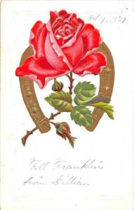 9443 A pink rose and a  Good Luck Horseshoe