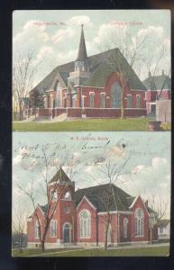 HIGGINSVILLE MISSOURI METHODIST CHURCH CHRISTIAN CHURCH VINTAGE POSTCARD MO