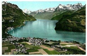 Aerial View Brunnen Vierwaldstättersee Switzerland Postcard 1957