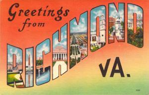 Linen Era,Large Letter,Greetings From Richmond, VA, Old Postcard