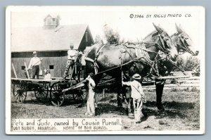 VAN BUREN AR EXAGGERATED HORSES VINTAGE REAL PHOTO POSTCARD RPPC