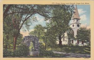 Massachusetts Cape Cod Town Pump and Church Sand Dunes Curteich