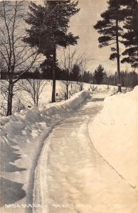 D18/ Seney Michigan Mi Real Photo RPPC Postcard 1944 Snow Scene Road